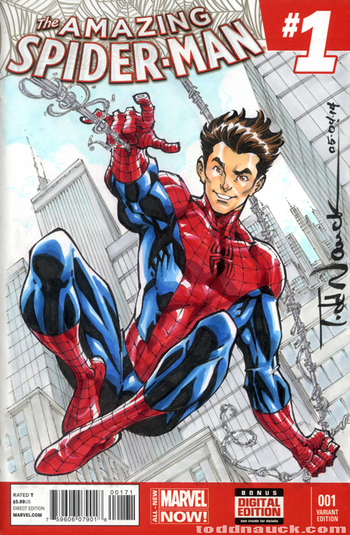 Original Spider-Man sketch variant cover illustration on